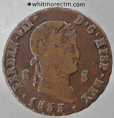 1833 Spain 8 Maravedis Segovia C118
