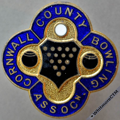 Cornwall County Bowling Association Gilt bronze enamelled brooch 31mm