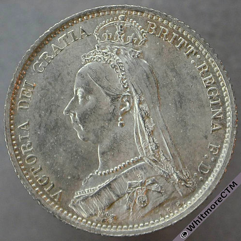 1887 Victoria Jubilee Head Sixpence D1151 Withdrawn Type