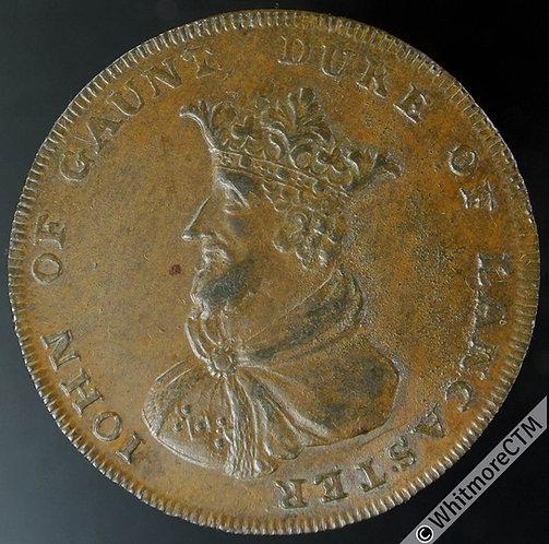 18th Century Halfpenny Sleaford 3 John of Gaunt/ Arms. Thomas Ball's edge.