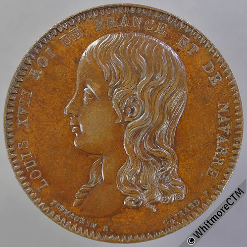 France 1795 Louis XVII Medal 32mm By Gayrard for Puymaurin. Copper