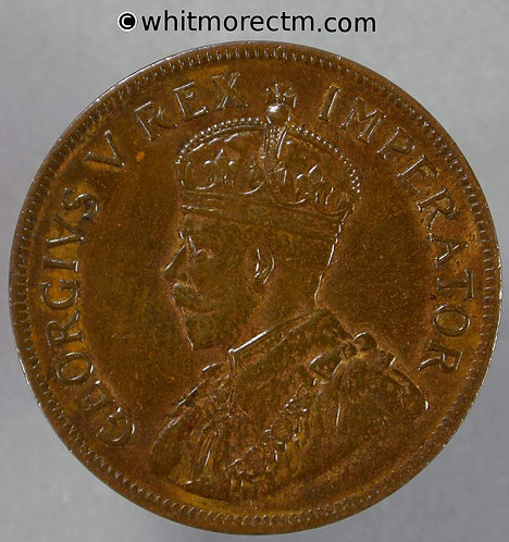 1929 South Africa Penny coin obv George V
