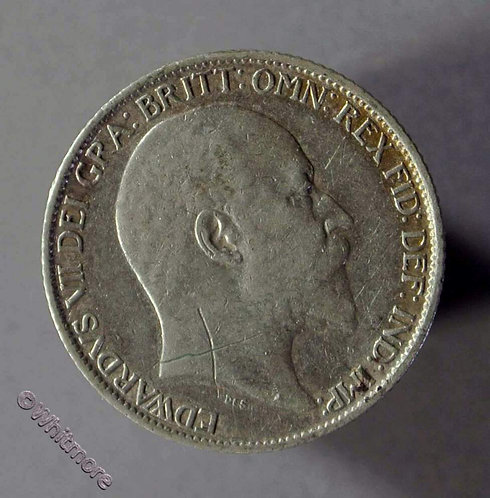 1910 British Sixpence Edward VII Obv. scratch