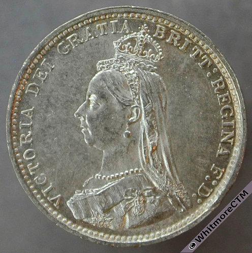 1887 British silver Threepence - Victoria Jubilee Head D1330 1+A