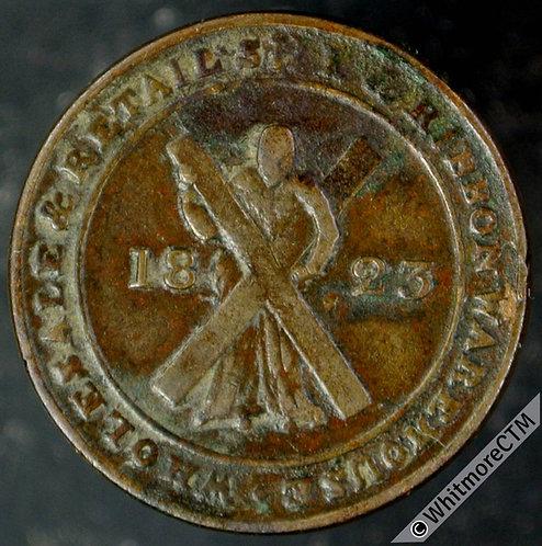 Unofficial Farthing Token Edinburgh 7070 1823 Caverhill & Co - Copper