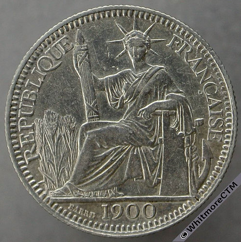 1900 French Indo-China 10 Cents Y14 Silver