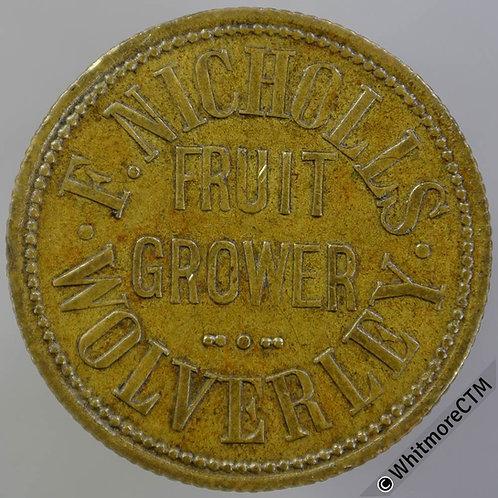Value Stated Token Wolverley 26mm F.Nicholls Fruit Grower / 2D in wreath - Brass