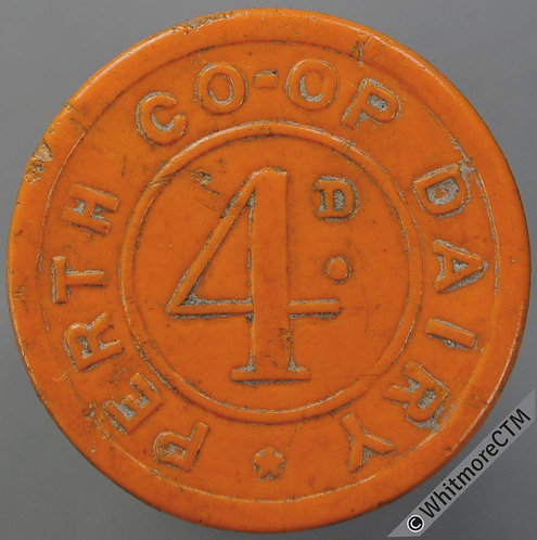 Co-Operative Society Token Perth 25mm Dairy 4D  Same both sides. Orange Plastic
