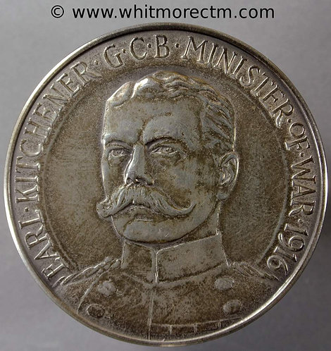 1916 B4121 Death of Kitchener Medal 45mm By Pinches 1966 Silver restrike