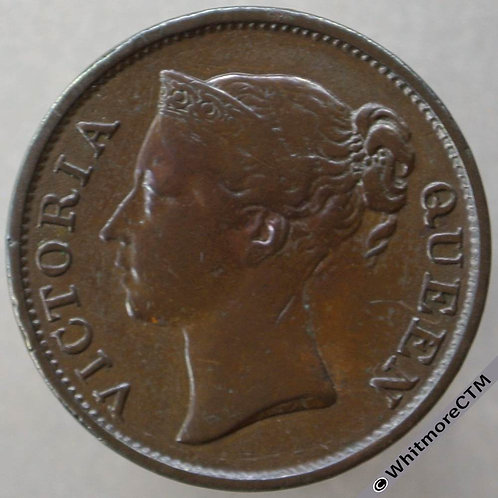 1845 Straits Settlements ½ Cent with W.W. Y2 Queen Victoria British Crown Colony