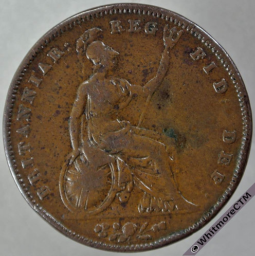 1841 British Copper Penny Victoria Young Head - No colon after REG