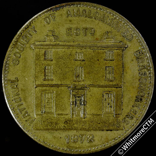 1890 Amalgamated Brassworkers Medal 39mm B3404 Rare. Gilt