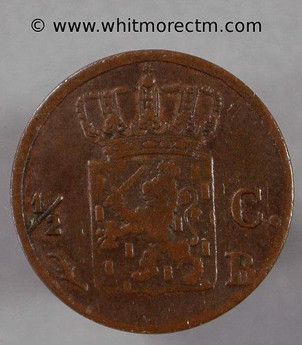 1823 Netherlands C71 ½ Cent 1823B