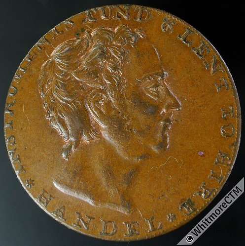 18th Century Halfpenny Middlesex 300 Dodd's Bust of Handel. Thin flan 20% Lustre
