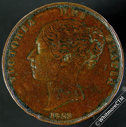 1853 Ornate Trident Victoria Young Head Copper Penny