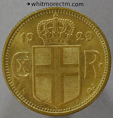 1929 Iceland 1 Krona coin obv Y6