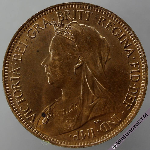 1901 British Bronze Halfpenny - Victoria Veiled Head