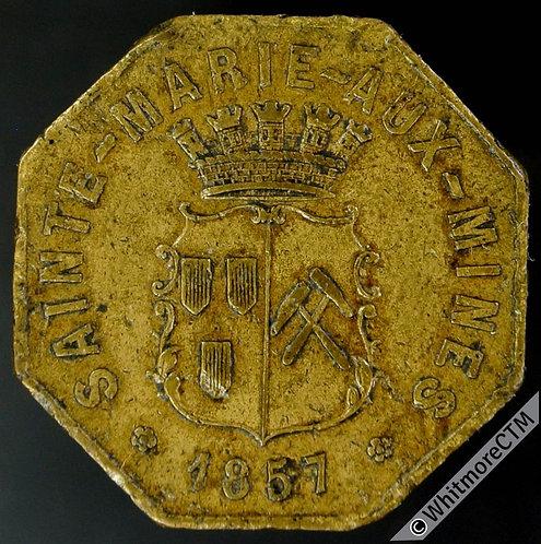 1857 France Sainte Marie aux Mines Token 22mm Octagonal brass