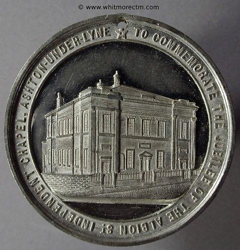 Ashton-under-Lyne 1865 Albion St Chapel Medal 45mm White Metal - not in Taylor