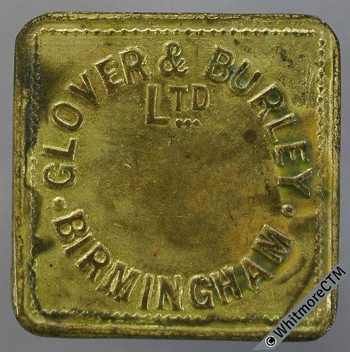 Birmingham Market Token 23mm W2900 1/- Glover & Burley Ltd - Square Brass