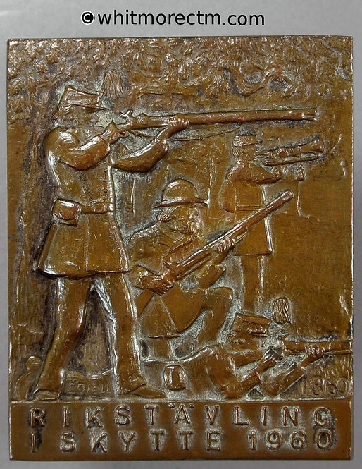 1960 Sweden shooting Competition medal plaque 57x47mm Soldiers of 1860 Bronze