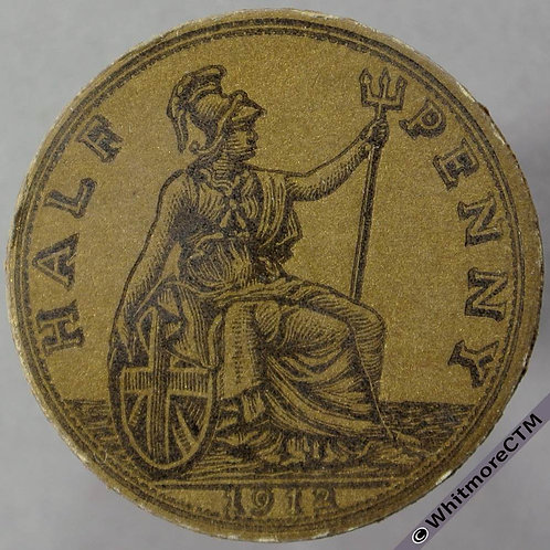 1912 Toy Coin Halfpenny - Bronze Card 27mm x 1.2mm. Evans 1275