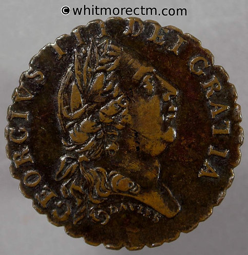 18th Century Halfpenny Worcester 38 1788 August 6 George III Scalloped edge