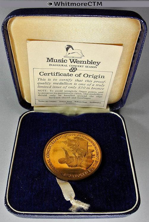 Wembley 1976 Music Inaugural Season Medal 38mm Gilt bronze Cased
