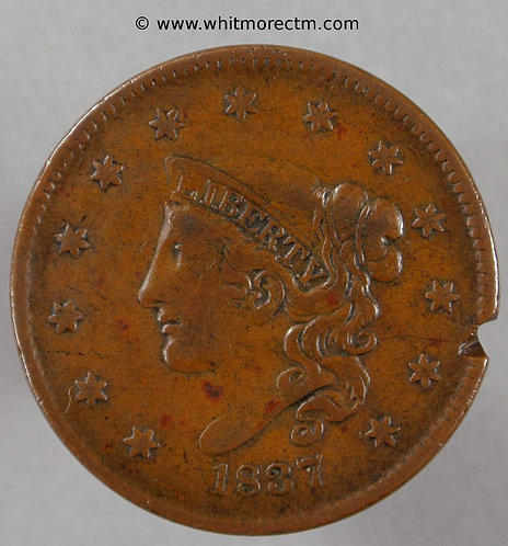 1837 USA One Cent coin Small letters  Edge fault