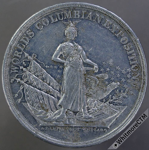 Chicago 1893 Worlds Columbian Exposition Medal 38mm By Childs - Aluminium