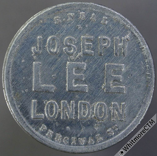 Market Token London 27mm Joseph Lee 2/-  Aluminium