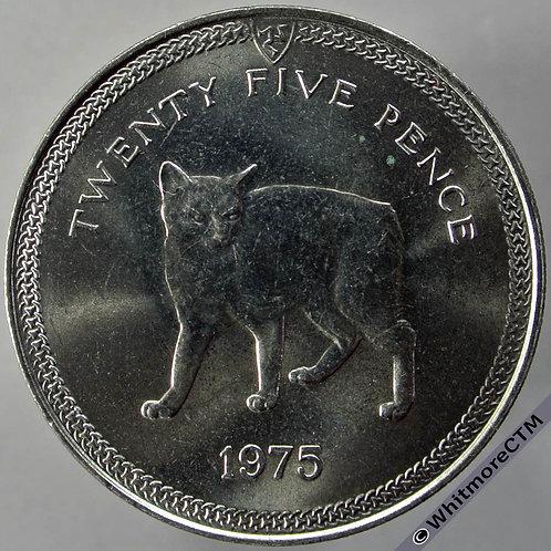 1975 Isle of Man Manx Cat Crown - 25 Pence Y17 rev