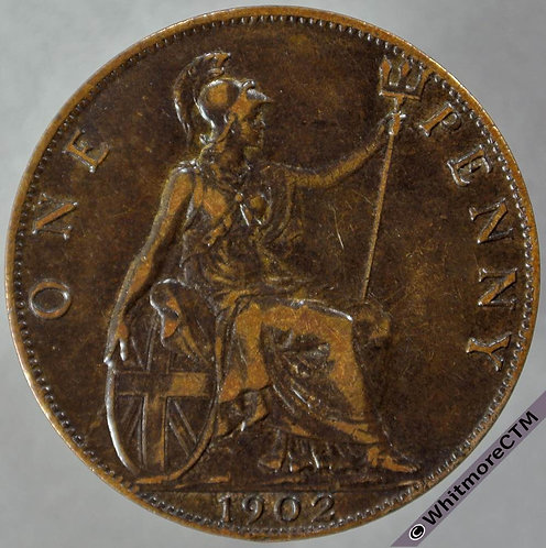 1902 British Bronze Penny Edward VII