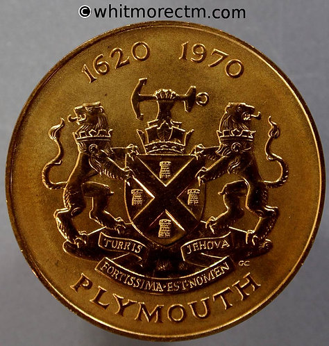 Plymouth 1970 350th Anniversary of Pilgrim Fathers Medal 39mm Ship at sea