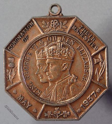 1937 Coronation Medal obv George VI & Elizabeth Miniature Rifle Clubs WE7031 33mm