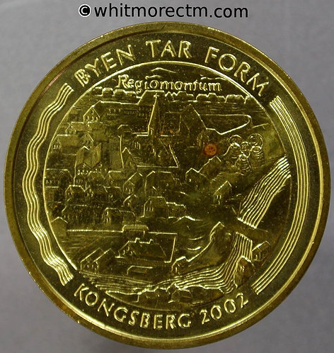 2002 Norway Kongsberg Byen Tar Form Medallion 31mm Norwegian Royal Mint
