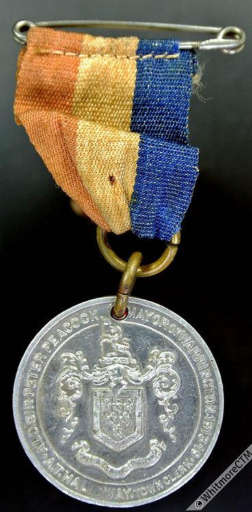 Warrington 1919 Peace Medal 29mm Crown over Dove - Aluminium. ribbon & pin