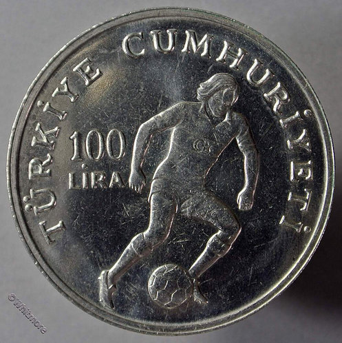 1982 Turkey 100 Lira Crown coin - Football world cup.