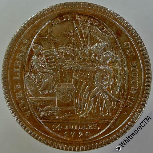 France Monnaies de confiance 1792 type 2. 30.7g Edge DEPARTEMENS