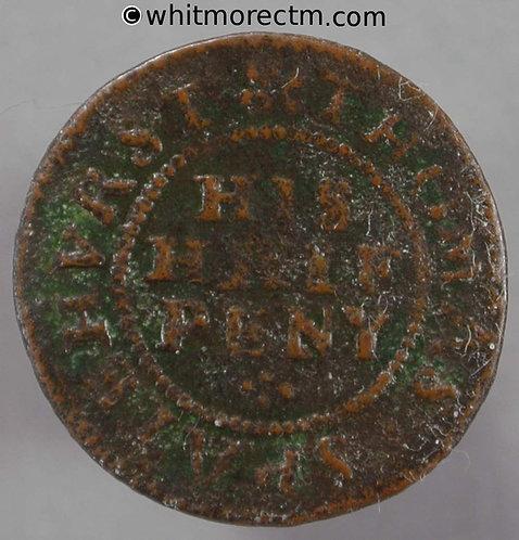 17th Century Token Chichester 62 ½d 1667 Thomas Spatehurst - His Half Peny