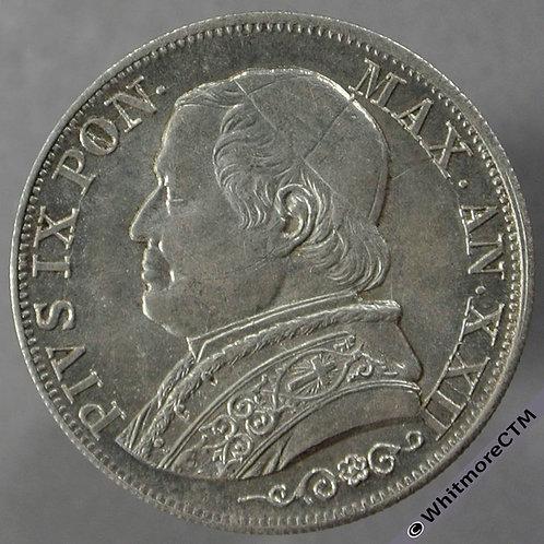 1867 Italy Papal States 1 Lira - obv