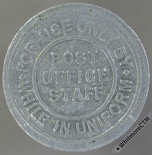Brighton Post Office staff Transport Token 22mm 1½d Corporation Tramways