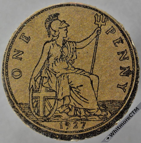 1927 Toy Coin Penny - Bronze Card 31mm x 1.5mm. Evans 1393