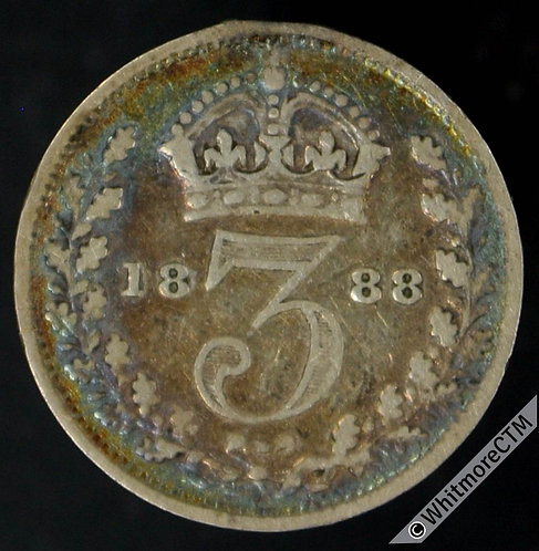 1888 Victoria Young Head threepence 3d
