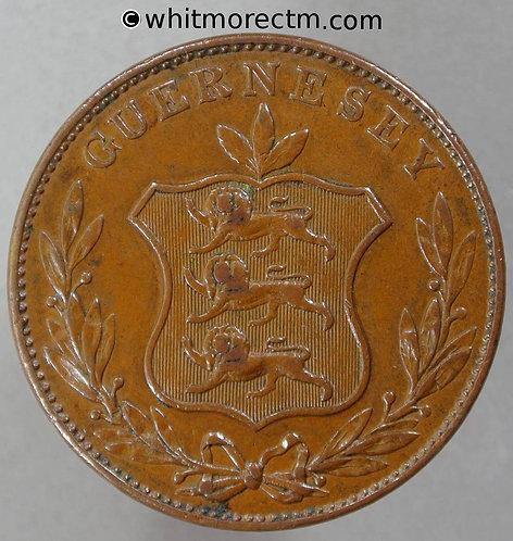 1834 Guernsey 8 Doubles coin E3 - obv
