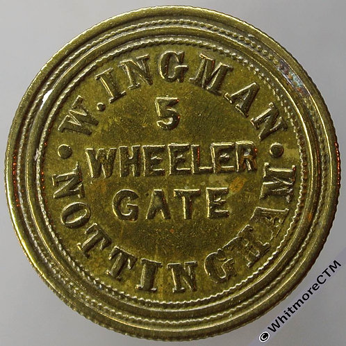 Unofficial Farthing Nottingham 4095 W.Ingman. 5 Wheeler Gate - Extremely rare