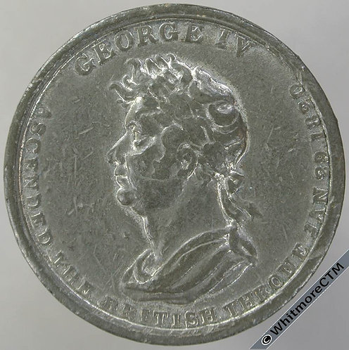1821 Birmingham Coronation of George IV Medal 34mm Extremely Rare, White metal