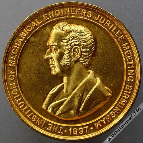 1897 Birmingham Jubilee Meeting Inst of Mech Engineers Medal 38mm Gilt Bronze