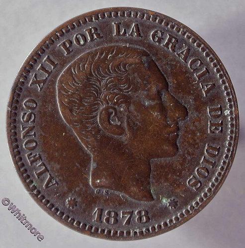 1878 Spain Y69 5 Centimos coin