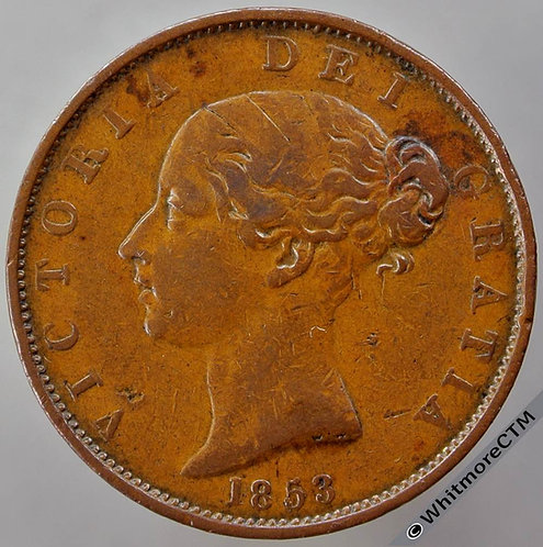 1853 British Copper Halfpenny Victoria Young Head